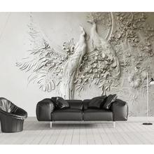 Пользовательские обои 3D трехмерное тиснение Павлин ТВ диван фон стены гостиной спальни росписи 3d обои