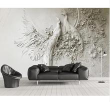 Обои на заказ 3D трехмерные рельефные Павлин ТВ диван фон стены Гостиная Спальня Фреска 3d обои