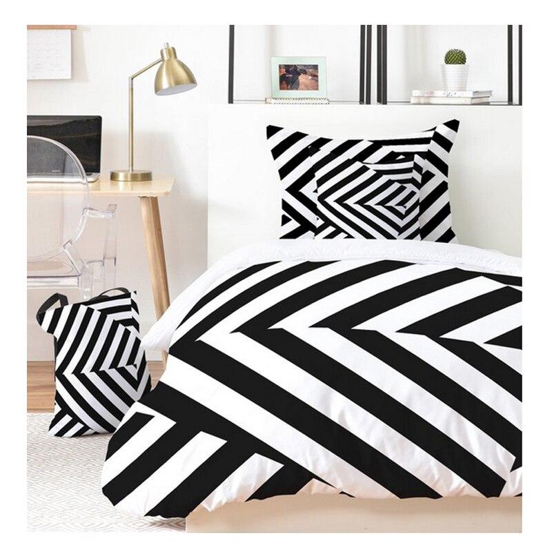 Acheter Po Pu Feng simple noir et blanc lignes géométriques coton literie quatre ensembles de 1.5 m lit couette de cotton bedding set fiable fournisseurs