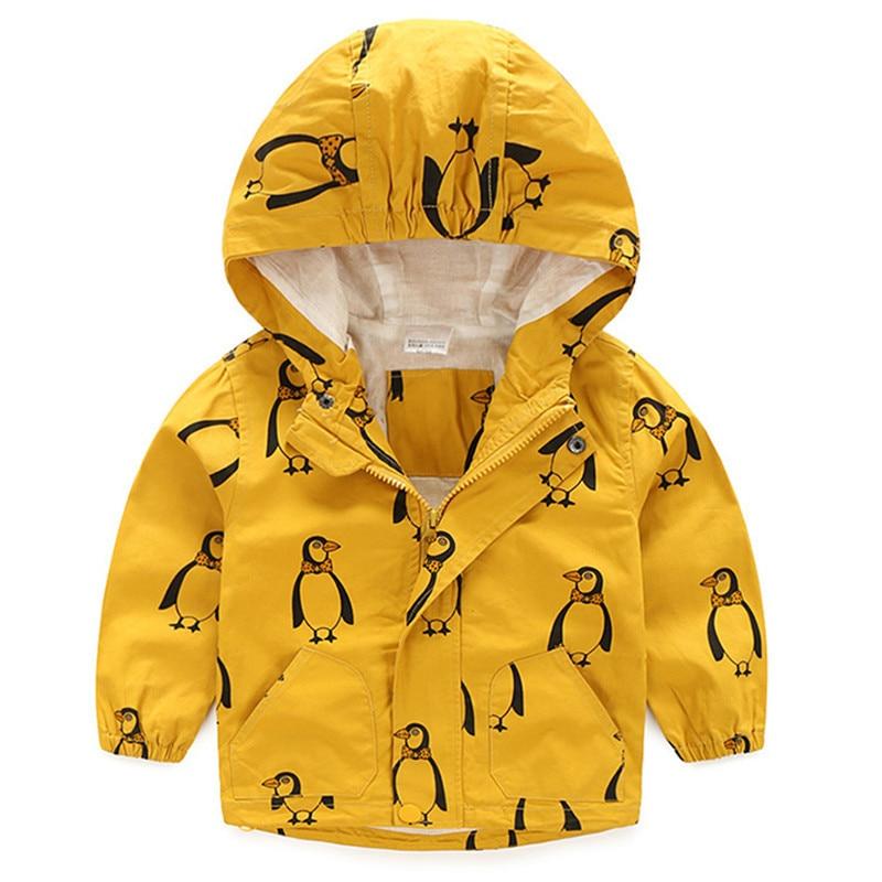 От 0 до 8 лет для маленьких мальчиков для девочек Дети Желтый Солнечный Пингвин животных пальто с капюшоном ветровки осенняя одежда пальто