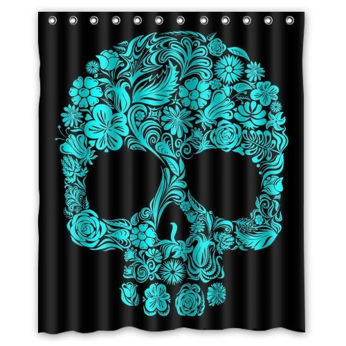 CHARMHOME Customized Polyester Shower Curtain Bathroom Waterproof Fabric Designed Black Sugar Skull