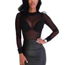 black Sexy Women T Shirt See Through Transparent Mesh Tops L