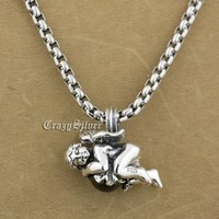925 Sterling Silver Lovely Angel Red CZ Stone Fashion Pendant 9S002 Stainless Steel Necklace 24 inch