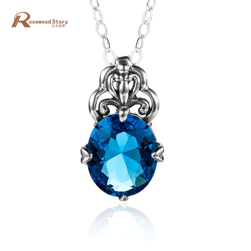 Fashion Pendant with Authentic 925 Sterling Silver Created Topaz Crystal Jewelry Vintage Necklace Pendants For Women Birthday