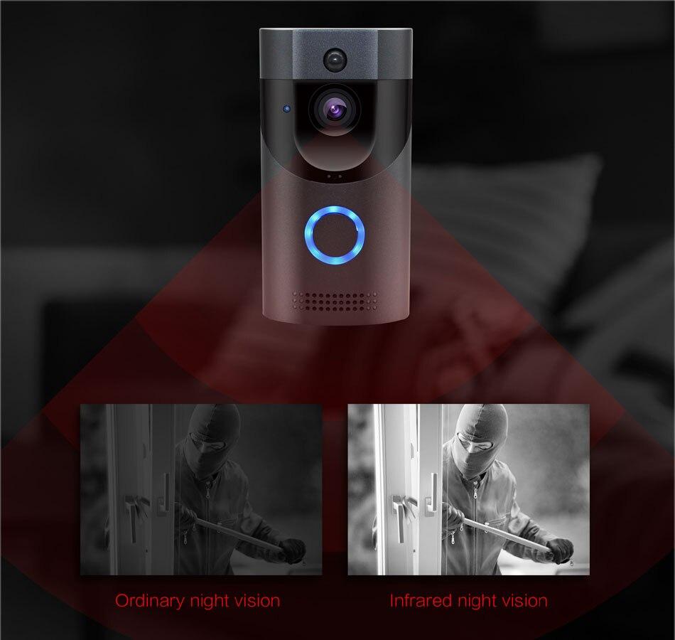 WIFI sonnette caméra sécurité intelligente IP65 étanche interphone vidéo porte cloche 720 P sapin alarme IR vision nocturne 18650 batterie puissance - 4