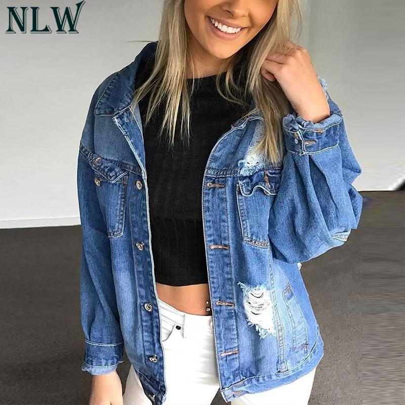 NLW Blue Denim   Jacket   Coat Frayed Curl Turn Down Collar Pocket Button Up   Basic     Jacket   2018 Women Girl Chic Boyfriend Jean   Jacket
