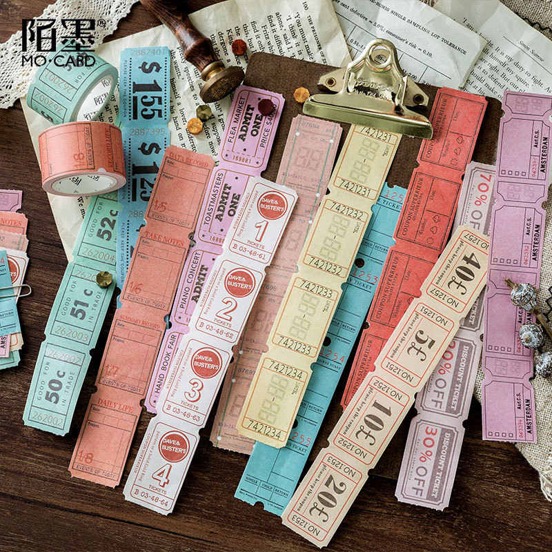 1 pcs Washi Masking Tapes Retro bill can be torn series Decorative Adhesive Scrapbooking DIY Paper  Stickers 3cm*5m