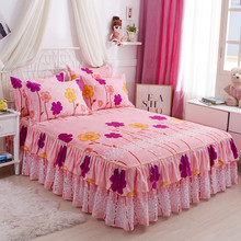 1Skirt+2Pillow Cover Bedspread Set Fashion Queen Bed Skirt Sheet Two-layer Single Double Bed Dust Ruffle Home Decor Textile стоимость