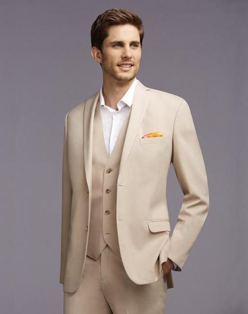 New Arrival Men Suits Beige Wedding Suits For Men Notched Lapel Grooms Tuxedos Two Button Groomsmen Suit Slim Fit