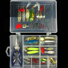 41pcs/box Lure Fishing Tool Tackle Box Fishing Pliers Fishhooks VIB Spoon Lures with Feather Fishing Connector Rings Accessories