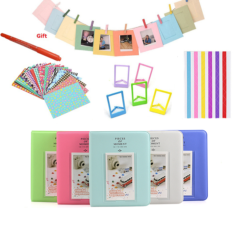 Autocollants couleur + Album Photos + cadres Photo + stylo marqueur pour Fujifilm Instax Mini 8 9 25 50 7 s 70 Instant Camera & Film Paper