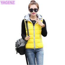 YAGENNZ Autumn Winter Large Size Women Vest New Fashion Women Cotton Vest Short Section Keep Warm Hooded Tops Women Clothing 287