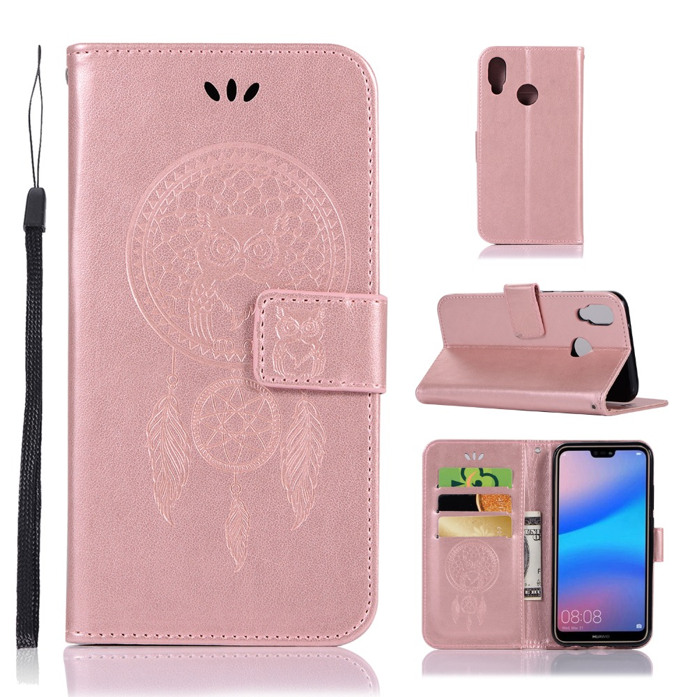 Wholesale(7pcs/lot) Embossing holster PU Windbell owl design Case for Huawei P20 lite