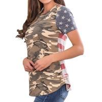 Mulheres Camuflagem T Camisa Verão 2018 de Manga Curta T-Shirt Senhora Casual Tops Tees Magros O Pescoço Feminino Listras Impressão Blusas WS7443V