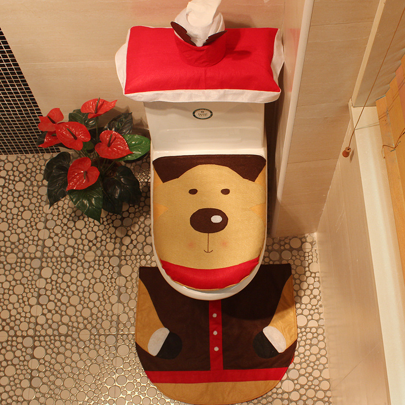 3pcs Elk Santa Claus Snowman Elf Toilet Seat Cover Rug Bathroom Set Contour Christmas Decoration Xmas Party Supplies In DIY Decorations From Home