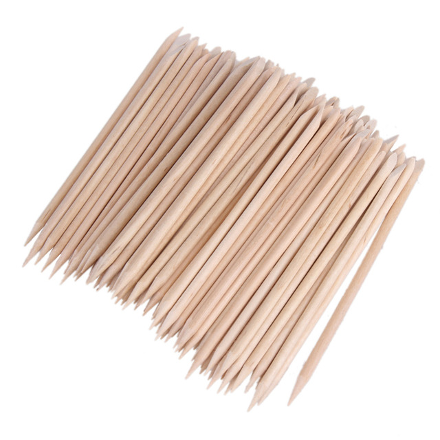 1 Pack 80-100pcs Nail Art Wood Stick Cuticle Pusher Remover Manicure Pedicure Care Pusher Beauty Nails Tools