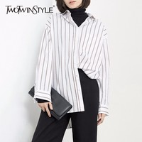 TWOTWINSTYLE Striped Long Women S Blouses Shirts Big Size Loose Tops Batwing Sleeve Irregular Female Shirt