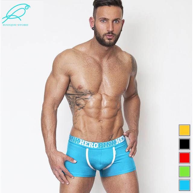 Pink Hero Men's Boxer Cotton All Sexy Man Underwear Fashion Male Boxershort Casual Color Cueca Shorts Pouch Pants Plus Size Hot