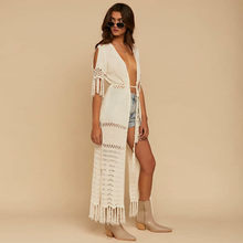 NODELAY 2018 Women Knitting Bikini Cover Up Hollow Crochet Beach Tunic Dress Long Kaftan Tassels Cover-Ups Beach Cardigan White(China)