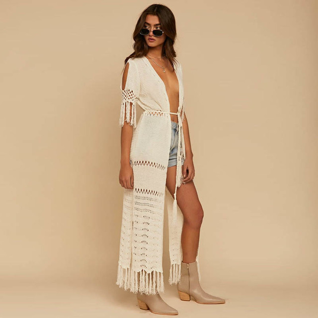 ffe7bc9843e09 NODELAY 2018 Women Knitting Bikini Cover Up Hollow Crochet Beach Tunic  Dress Long Kaftan Tassels Cover-Ups Beach Cardigan White