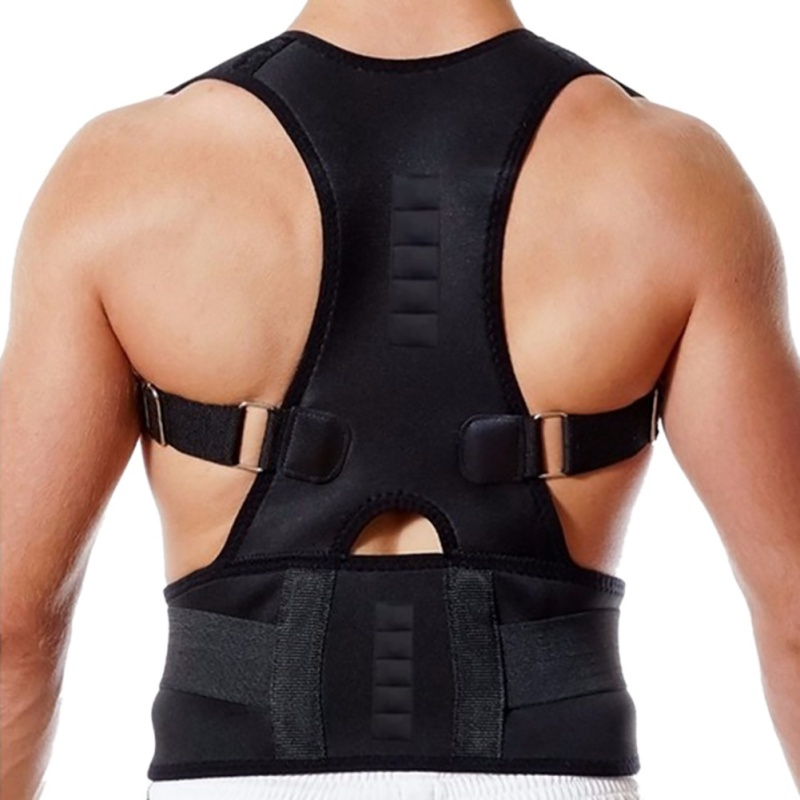 Uomo Maschio Regolabile Belt Posture Corrector Dolore Alla Spalla Terapia Postura Ortopedica Lombare Corsetto Indietro Brace Cintura Cinghie