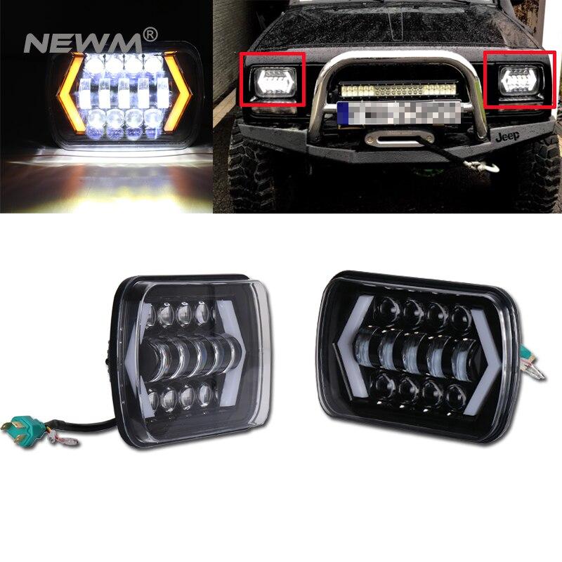 Nouveau! LED camion lumières 7x6 5x7 lampes de conduite 24 V blanc ambre flèche Style ange yeux remplace H6014 H6054 6054 H6052 pour Jeep YJ