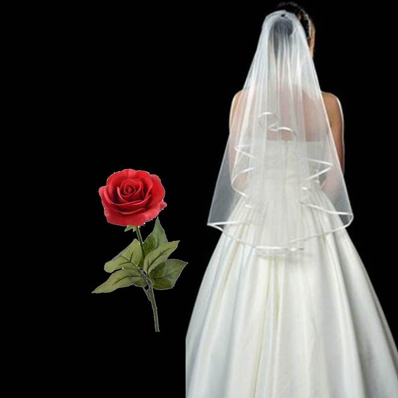 Bridal Veil Red Rose Set White Short Wedding Veil