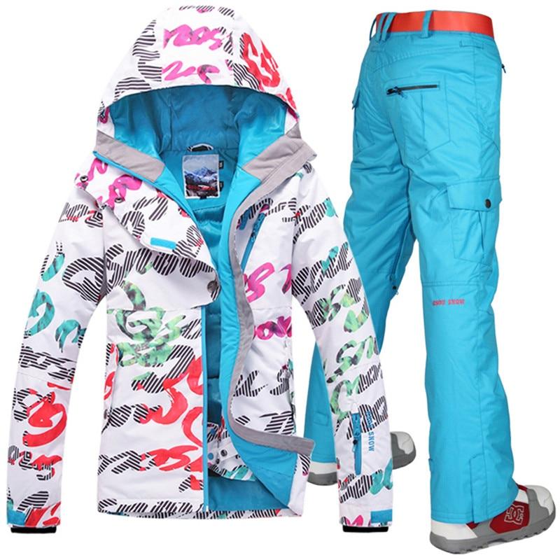 Prix pour 2017 Gsou Snow Femmes de ski costume ensembles Snowboard ski vestes de ski + pantalon sports de Plein Air imperméable Coupe-Vent Femme vêtements chauds