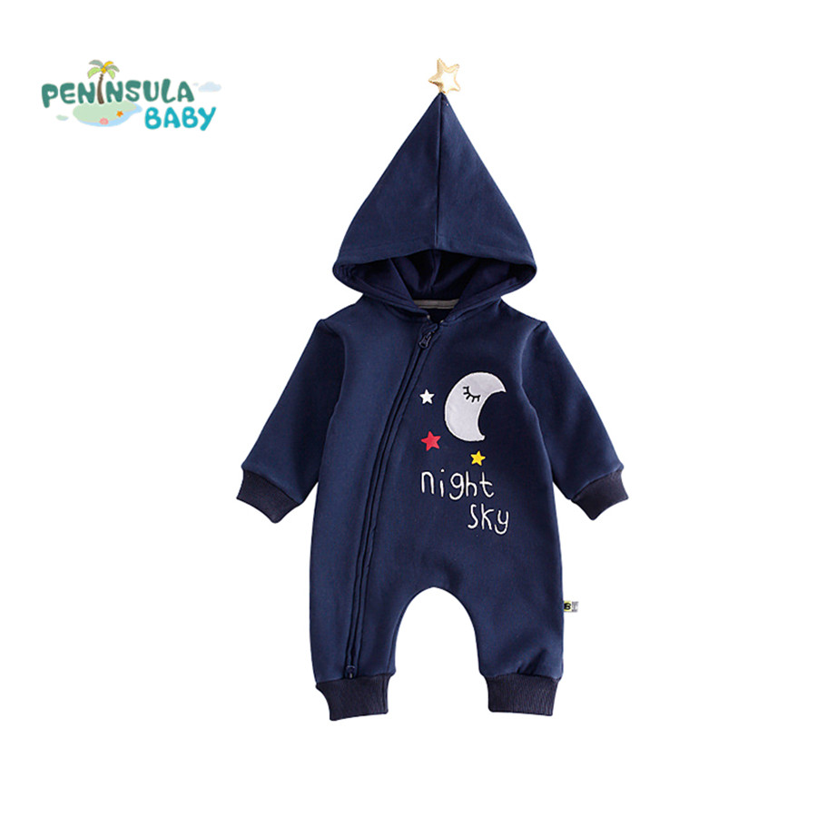 Winter Baby Rompers Star Hooded Long Sleeve Jumpsuit Moon Printed Toddler One-Pieces Costume Baby Boys Girls Autumn Clothes warm thicken baby rompers long sleeve organic cotton autumn