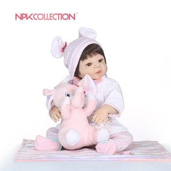 Npkcollection 55 cm 전신 실리콘 다시 태어난 아기 인형 장난감 신생아 공주 유아 아기 인형 목욕 장난감 놀이 집 장난감 인형