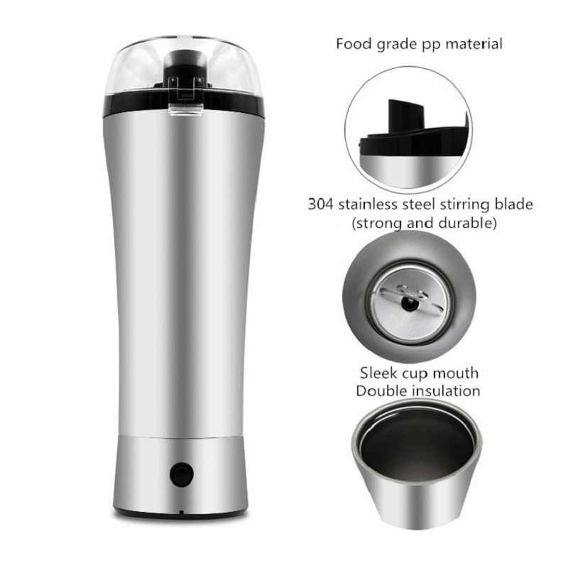 2019 Baru Stainless Steel Listrik Protein Shaker Botol Outdoor Gym Olahraga Kebugaran Pelatihan Minum Susu Bubuk Mixer Botol Air