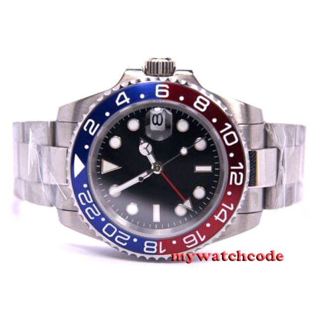 43mm parnis black sterile dial GMT red blue Bezel sapphire glass date window automatic mens watch P322
