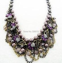 Vintage bronze multi strand faux pearl leaves rhinestone flower choker necklace chunky chain tassel bracelet set christmas gift