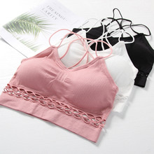 2019 new Fashion Women Cami Crop Tops Sexy Hollow Out Bra Seamless Crochet Bralette