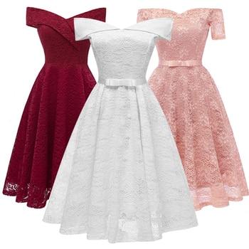 294889720 Simple encaje fuera del hombro de dama de honor vestidos de dama de honor  Vestido corto cuello barco vestidos para boda fiesta Vestido