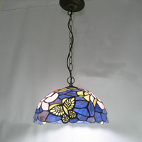 light glass pendant lights for restaurant living room bedroom study Purple Butterfly pendant lamps single head lamps ZA