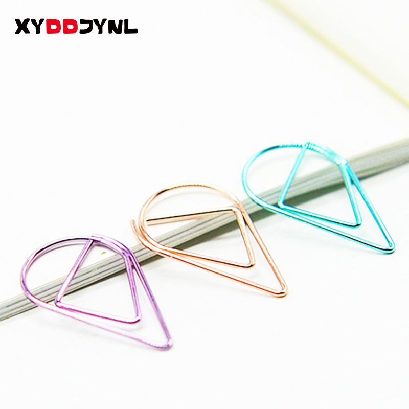 XYDDJYNL 10 Pcs Cute Kawaii Metal Bookmarks Creative Water Drop Paper Clips Book Markers Korean Stationery School Supplies