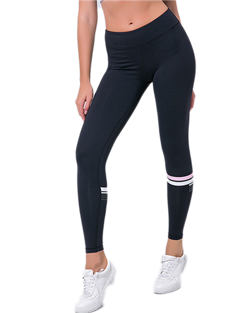 Color Stripe Fitness Leggings For Women Elastic Sportswear Workout Outdoor Gym Pants Running Exercise High Waist Slim Trousers in Leggings from Women 39 s Clothing