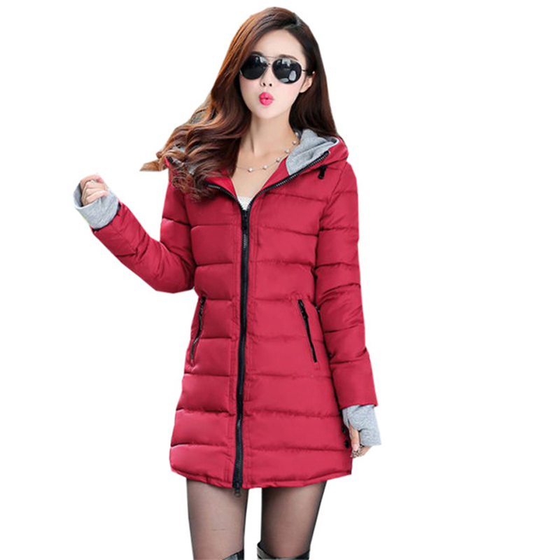 2018 New Winter Brand Fashion Thick Warm Women Winter Down Cotton Jackets Hooded Women   Parkas   Coats Plus Size FP1311
