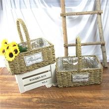 Креативная садовая соломинка декоративная домашнее хранилище корзина для гостиной настенное украшение корзина ручной работы плетеная корзина для цветов