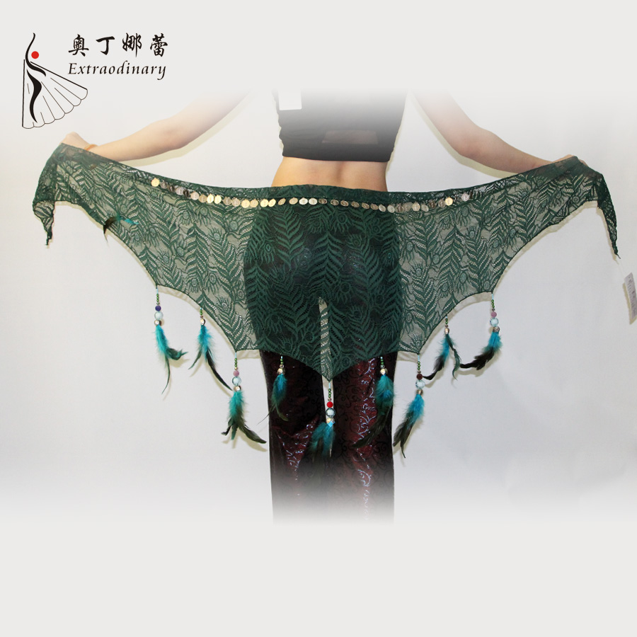 Belly Dance Feather Fringe Hip Scarf Belly Dance Silver Coin Belt
