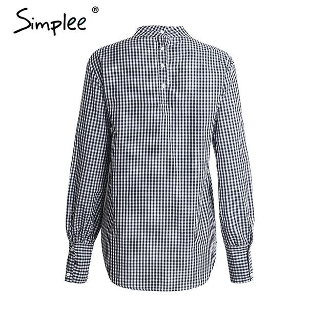 Simplee Fashion loose halter plaid blouse shirt Long sleeve v neck blusas Summer streetwear women blouses