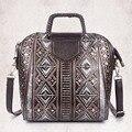 Fashion Women Genuine Leather Cowhide Messenger Bags National Style Embossed Crossbody Shoulder Bag Ladies Office Tote Handbag