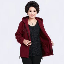 2017 Spring Autumn Casual Ladies Hooded Warm Fleece Jackets Dark Gray Hood Coat Middle Aged Women Plus Size Overcoats TC037