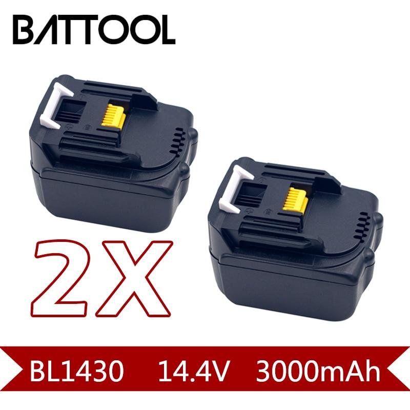 2X3000 mAh 14.4 V Li-ion BL1430 Rechargeable Batterie pour MAKITA BL701 BL1415 194065-3 194066-1