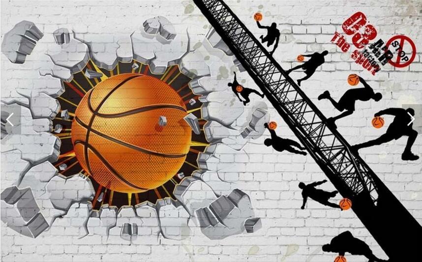 Personnalisé De Basket Ball Papier Peint, Blanc Brique Mur De