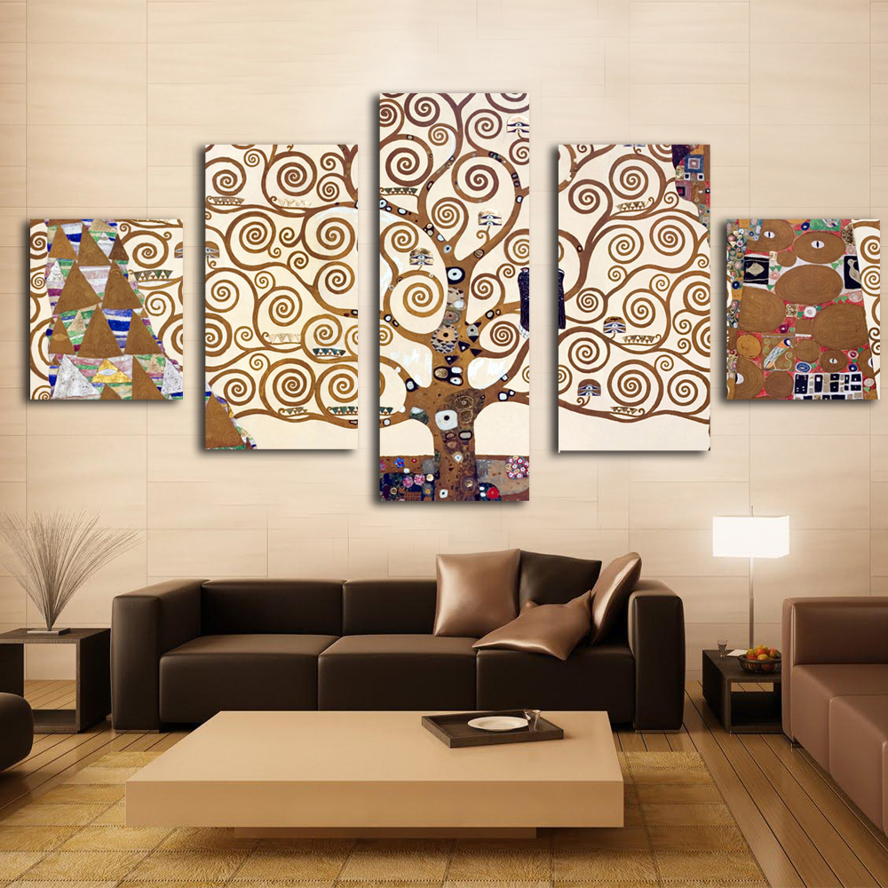 5 Pieces Gustav Klimt Prints Wall Art Print On Canvas For
