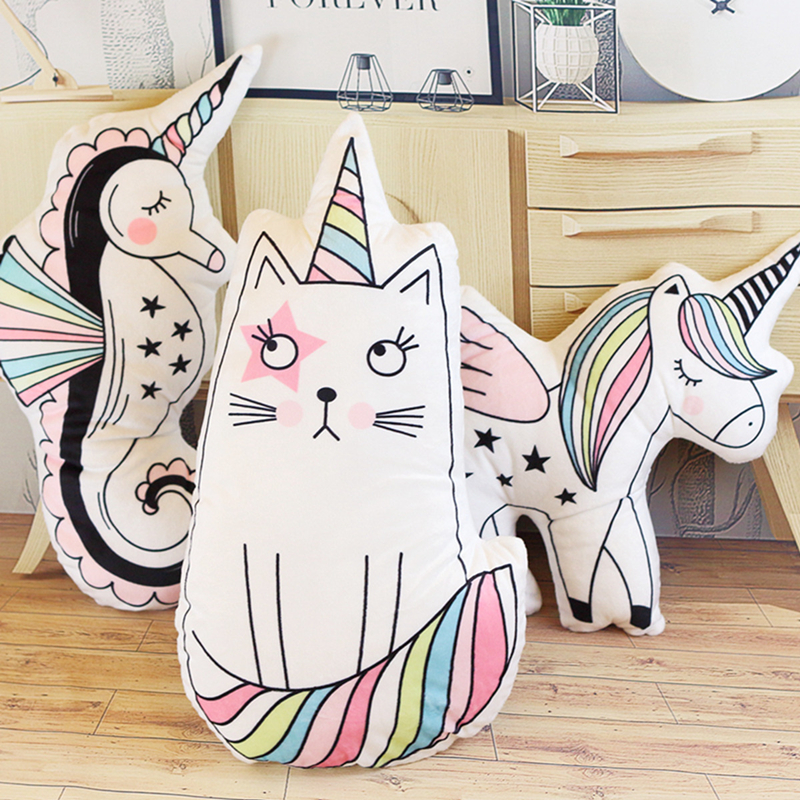 Macaron Color Unicorn Cat Hippocampus Plush Stuffed Pillow, Creative Unicorn Sofa Cushions, Baby Room Decorations the silver dream