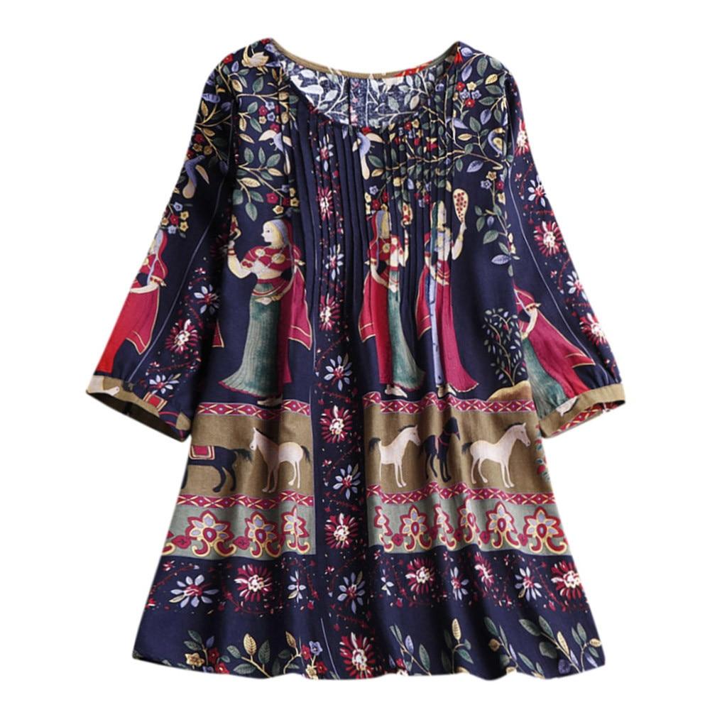Tee Shirt Femme T Shirt Women Boho Plus Size Loose T Shirt Linen National Hippie Swing Long Tops 2019 T-Shirt Camisetas Mujer