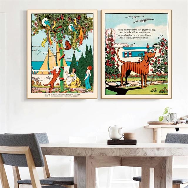 Poster Vintage Hanging Wall Art Hund Malerei Leinwand Drucke Wand Bilder  Wohnzimmer Home Decor Vogel Katze